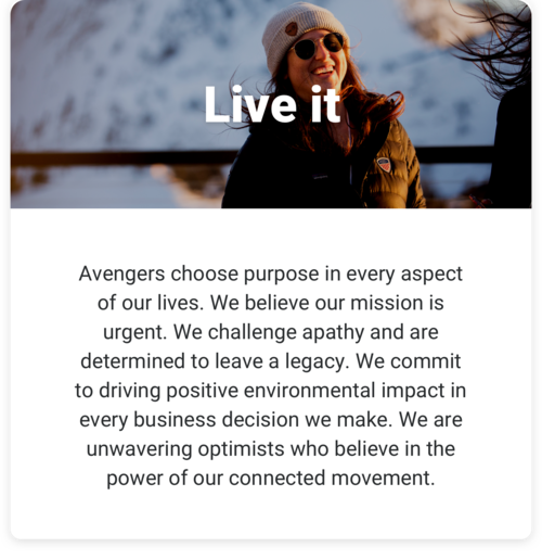 Live it: Avengers choose purpose in every aspect of our lives. We believe our mission is urgent. We challenge apathy and are determined to leave a legacy. We commit to driving positive environmental impact in every business decision we make. We are unwavering optimists who believe in the power of our connected movement.